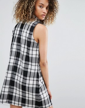 photo Vintage High Neck Swing Dress In Tartan by Milk It, color Black Tartan - Image 2