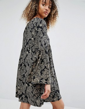 photo Vintage Smock Dress In Black Paisley by Milk It, color Black Paisley - Image 2