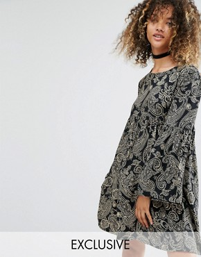 photo Vintage Smock Dress In Black Paisley by Milk It, color Black Paisley - Image 1