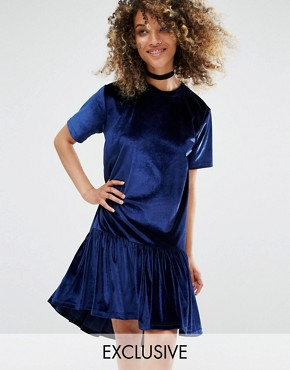 photo Vintage Oversized T-Shirt Dress with Frill Hem In Velvet by Milk It, color Deep Blue - Image 1