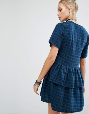 photo Vintage Tea Dress with Multi Frills In Tartan by Milk It, color Blue Tartan - Image 2