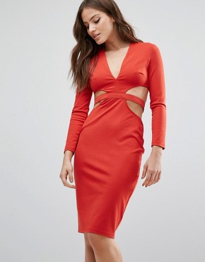 photo Trixie Longsleeve Plunge Dress by Bec & Bridge, color Red - Image 2