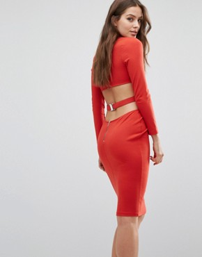 photo Trixie Longsleeve Plunge Dress by Bec & Bridge, color Red - Image 1