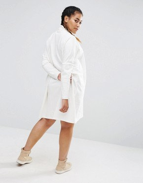 photo High Neck Slouch Dress With Rib Sleeve by ASOS CURVE, color Cream - Image 2