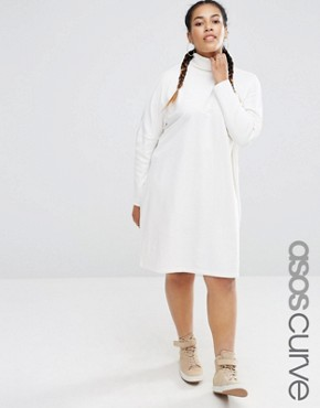 photo High Neck Slouch Dress With Rib Sleeve by ASOS CURVE, color Cream - Image 1