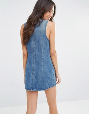 photo Zoe Denim Dress by Tularosa, color Blue - Image 2