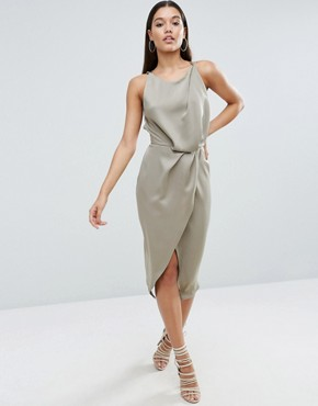 photo Soft Drape Midi Dress with Strappy Back by ASOS, color Gunmetal - Image 2