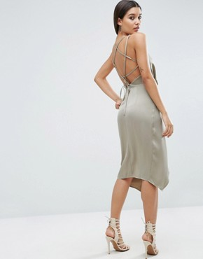 photo Soft Drape Midi Dress with Strappy Back by ASOS, color Gunmetal - Image 1