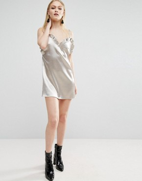 photo Ruffle Front Cami Mini Dress by ASOS, color Gold - Image 4