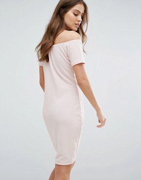 photo Off Shoulder Mini Dress by Daisy Street, color Nude - Image 2