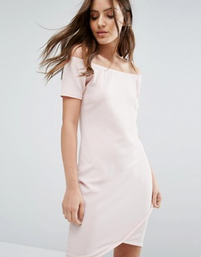 photo Off Shoulder Mini Dress by Daisy Street, color Nude - Image 1