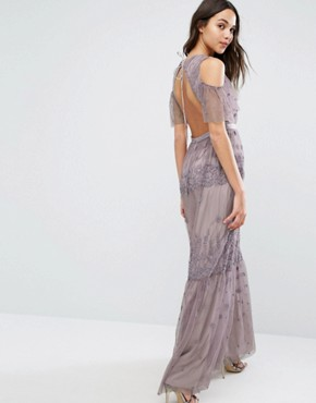 photo Daisy Embroidery Maxi Dress with Cold Shoulder by Needle & Thread, color Lavender - Image 2