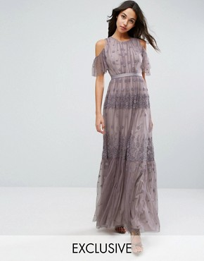 photo Daisy Embroidery Maxi Dress with Cold Shoulder by Needle & Thread, color Lavender - Image 1