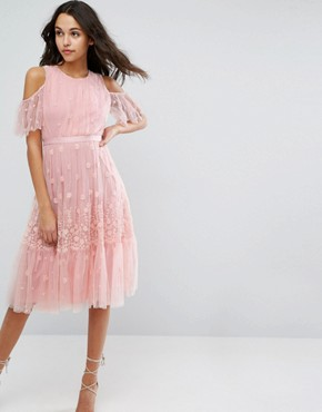 photo Daisy Embroidery Midi Dress with Cold Shoulder by Needle & Thread, color Bright Pink - Image 1