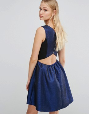 photo Glitter Fit and Flare V Neck Dress by Girls on Film, color Blue Glitter - Image 2