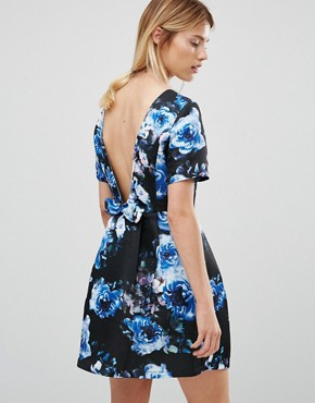 photo Floral Fit and Flare Dress by Girls on Film, color Blue - Image 2