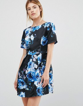photo Floral Fit and Flare Dress by Girls on Film, color Blue - Image 1