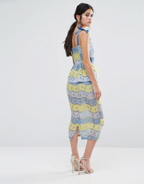 photo Fab Lace Midi Dress In Multi Lace by Traffic People, color Blue/Lemon - Image 2