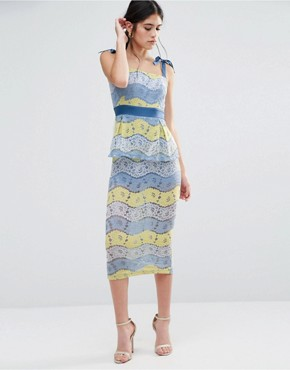 photo Fab Lace Midi Dress In Multi Lace by Traffic People, color Blue/Lemon - Image 1