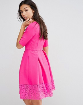 photo Hepburn Dress With Lace Trim by Traffic People, color Bright Pink - Image 2