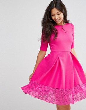 photo Hepburn Dress With Lace Trim by Traffic People, color Bright Pink - Image 1