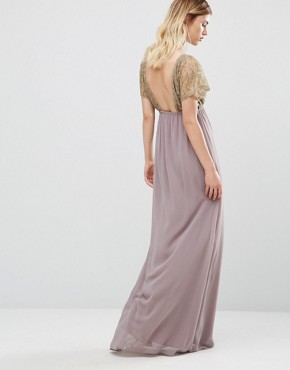 photo Maxi Dress With Metallic Lace Top by Traffic People, color Mauve - Image 2