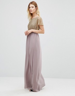 photo Maxi Dress With Metallic Lace Top by Traffic People, color Mauve - Image 1