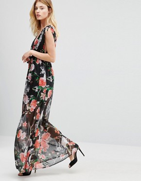 photo Maxi Dress In Woodland Print by Traffic People, color Black - Image 4
