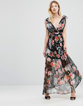 photo Maxi Dress In Woodland Print by Traffic People, color Black - Image 1
