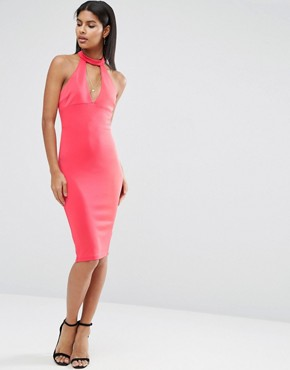 photo Choker Neck Pencil Dress by AX Paris, color Coral - Image 2