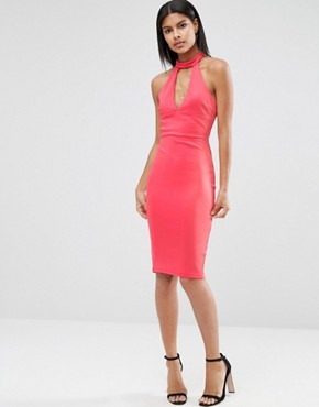 photo Choker Neck Pencil Dress by AX Paris, color Coral - Image 1