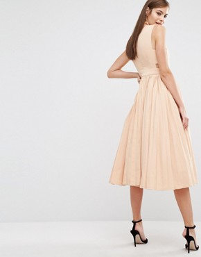 photo High Neck Dress with Pleated Skirt by The 8th Sign, color Nude - Image 2