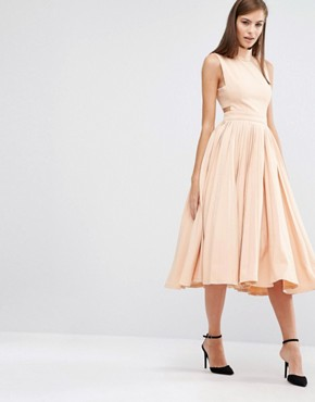 photo High Neck Dress with Pleated Skirt by The 8th Sign, color Nude - Image 1