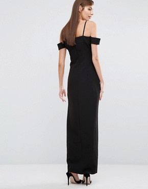 photo Cut Out High Low Maxi Dress by The 8th Sign, color Black - Image 2