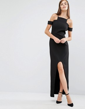 photo Cut Out High Low Maxi Dress by The 8th Sign, color Black - Image 1