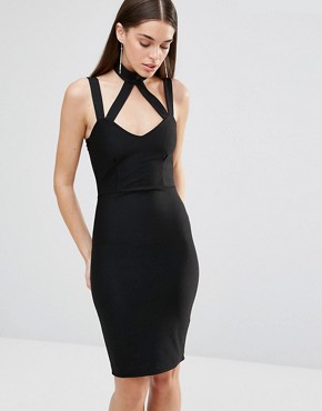 photo Cross Strap Bodycon Dress by Rare London, color Black - Image 1