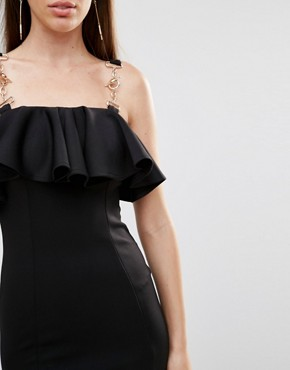photo Frill Chain Trim Dress by Rare London, color Black - Image 3