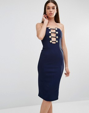 photo Military Button Plunge Midi Dress by Rare London, color Navy - Image 1