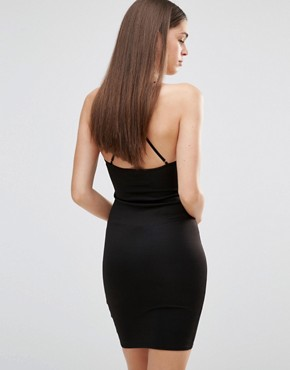 photo Cross Back Plunge Dress by Rare London, color Black - Image 2