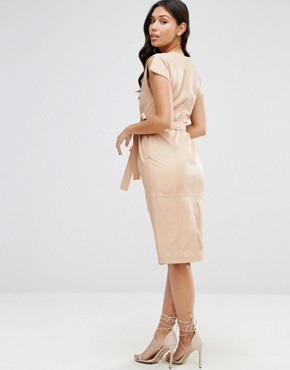 photo Leather Split Sleeve Dress with Tie Belt by ASOS, color Nude - Image 2