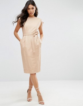 photo Leather Split Sleeve Dress with Tie Belt by ASOS, color Nude - Image 1