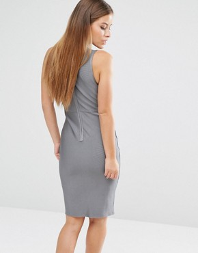 photo Premium Slashed Bust Bandage Dress by Missguided Petite, color Silver - Image 2