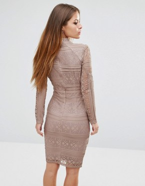 photo Lace Long Sleeve High Neck Dress by Missguided Petite, color Mocha - Image 2