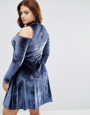 photo Velvet Cold Shoulder Swing Dress With Key Hole by ASOS CURVE, color Steel Blue - Image 2