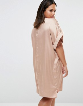 photo Satin Short Sleeve Shirt Dress by Missguided Plus, color Nude - Image 2