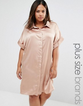 photo Satin Short Sleeve Shirt Dress by Missguided Plus, color Nude - Image 1
