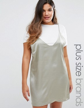 photo Satin 2 In 1 Dress by Missguided Plus, color Silver - Image 1