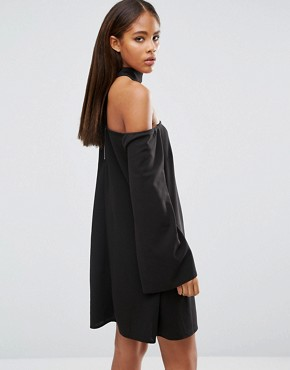 photo Size Choker Neck Bardot Dress by Missguided Tall, color Black - Image 2