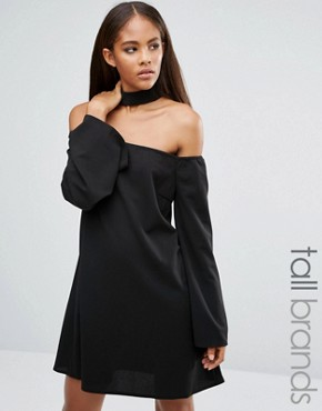 photo Size Choker Neck Bardot Dress by Missguided Tall, color Black - Image 1