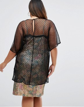 photo 90S Sequin Cami Dress With Lace Trim And Spot Mesh Overlayer by ASOS CURVE Premium, color  - Image 2